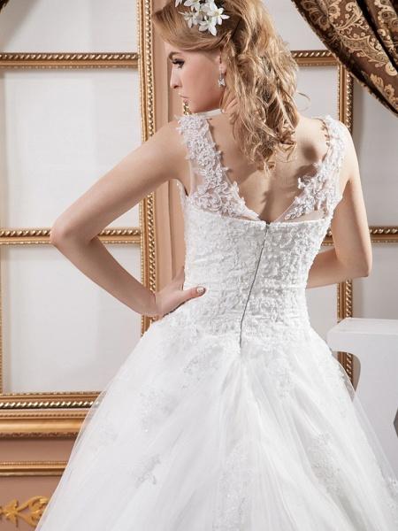 A-Line V Neck Court Train Lace Satin Tulle Spaghetti Strap Wedding Dresses_6