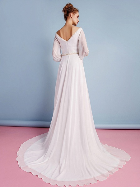 Sheath \ Column Wedding Dresses V Neck Court Train Chiffon Long Sleeve_6