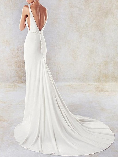 Mermaid \ Trumpet Wedding Dresses V Neck Sweep \ Brush Train Lace Tulle Stretch Satin Sleeveless Simple Sexy Backless Cape_4