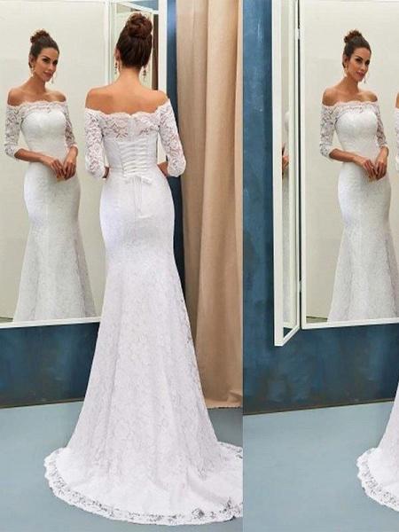 Off-the-Shoulder Lace Mermaid Long Sleeves Sweep Train Wedding Dresses_1