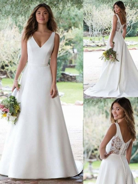 A Line V Neckline White Ivory Buttons Back Lace Wedding Bridal Gown