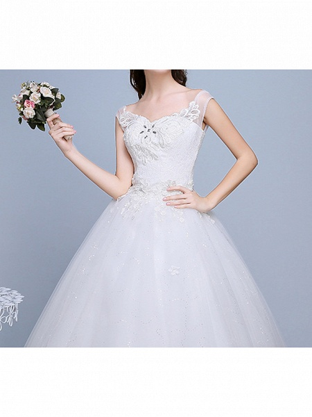 Ball Gown Wedding Dresses Sweetheart Neckline Floor Length Lace Tulle Polyester Sleeveless Romantic Glamorous Sexy_4