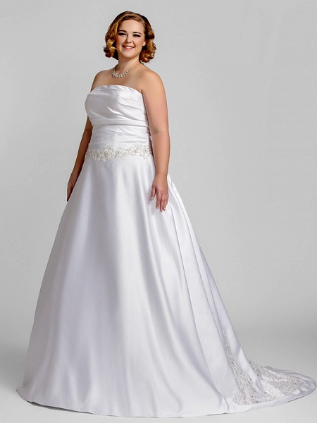 A-Line Wedding Dresses Strapless Court Train Satin Strapless Romantic Illusion Detail_3