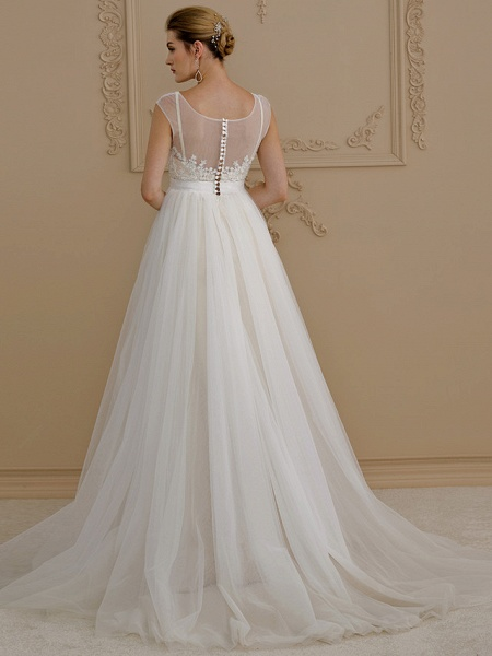 A-Line Wedding Dresses Jewel Neck Sweep \ Brush Train Beaded Lace Cap Sleeve Romantic Plus Size Backless_3
