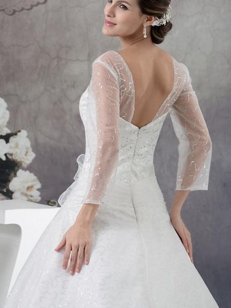 Ball Gown Wedding Dresses V Neck Chapel Train Organza Satin Long Sleeve Illusion Sleeve_5
