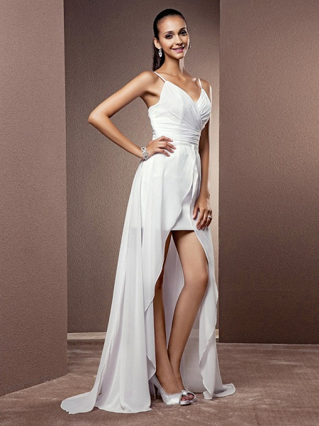 Sheath \ Column Wedding Dresses V Neck Asymmetrical Chiffon Sleeveless_2