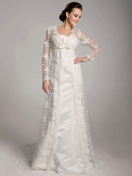 Sheath \ Column Wedding Dresses Square Neck Sweep \ Brush Train Lace Satin Long Sleeve_1