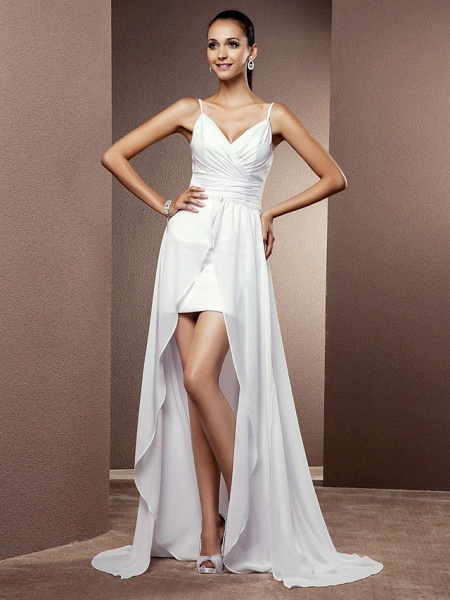 Sheath \ Column Wedding Dresses V Neck Asymmetrical Chiffon Sleeveless_1