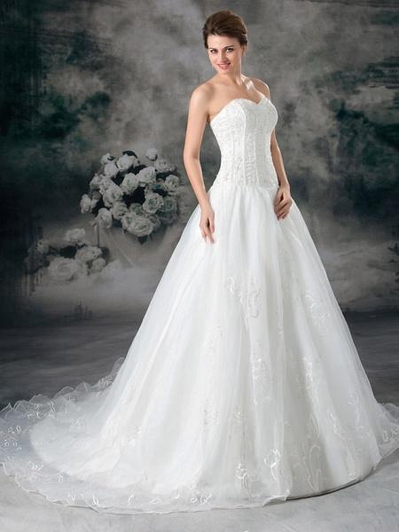 A-Line Sweetheart Neckline Court Train Organza Satin Strapless Plus Size Wedding Dresses_3