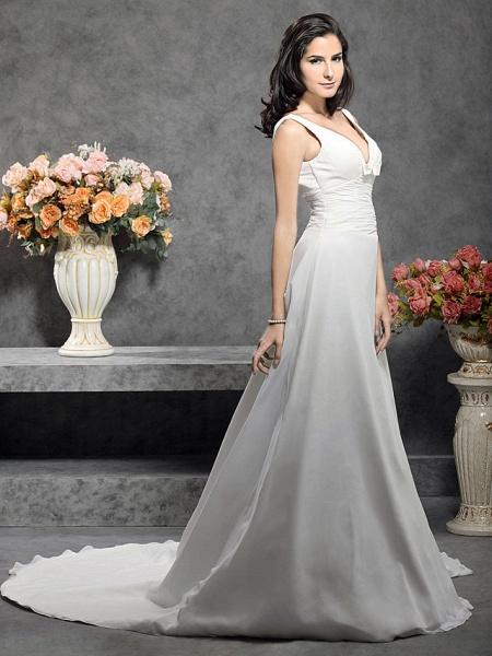 Princess A-Line Wedding Dresses Straps V Neck Court Train Chiffon Sleeveless_3