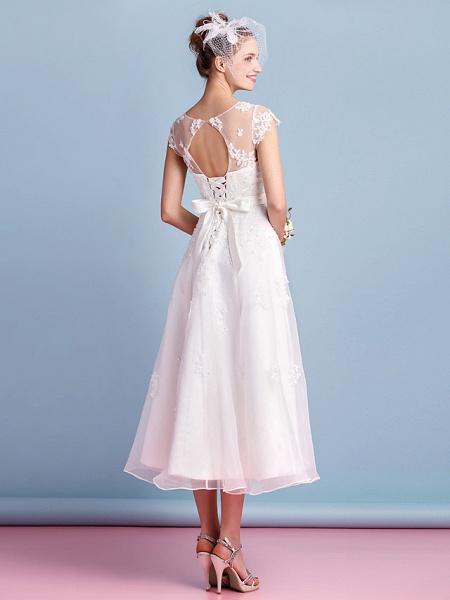 A-Line Wedding Dresses Bateau Neck Tea Length Organza Cap Sleeve Simple Casual Illusion Detail_2