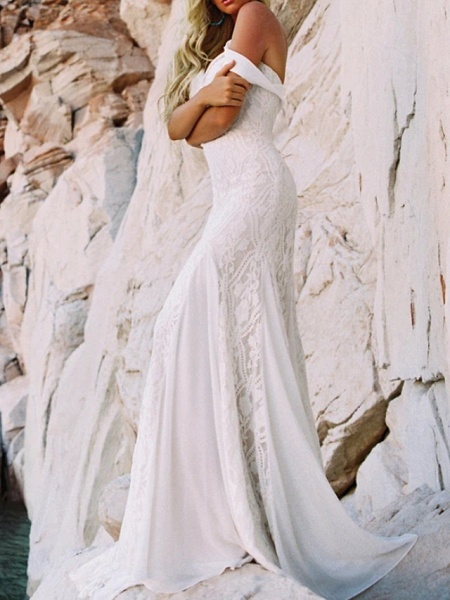 Mermaid \ Trumpet Wedding Dresses Sweetheart Neckline Sweep \ Brush Train Lace Satin Short Sleeve Vintage Sexy Backless_2