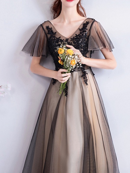 A-Line Wedding Dresses V Neck Floor Length Lace Tulle Short Sleeve Formal Black_1