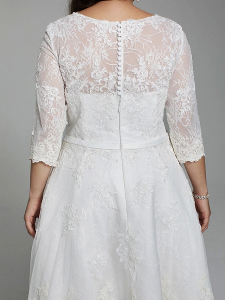 A-Line Wedding Dresses V Neck Knee Length All Over Lace 3\4 Length Sleeve Casual Vintage See-Through Illusion Detail Backless_8