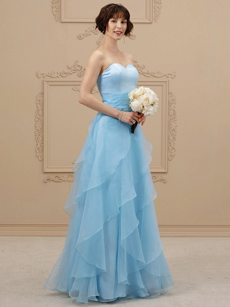 A-Line Wedding Dresses Sweetheart Neckline Floor Length Organza Satin Strapless Simple Plus Size Backless_3