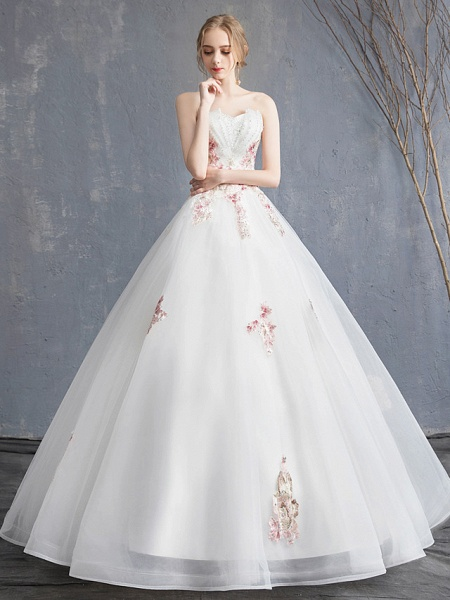 A-Line Wedding Dresses Strapless Maxi Lace Organza Tulle Strapless Country Romantic Sparkle & Shine_1