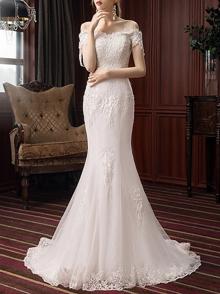 Mermaid \ Trumpet Wedding Dresses Off Shoulder Sweep \ Brush Train Polyester Short Sleeve_1