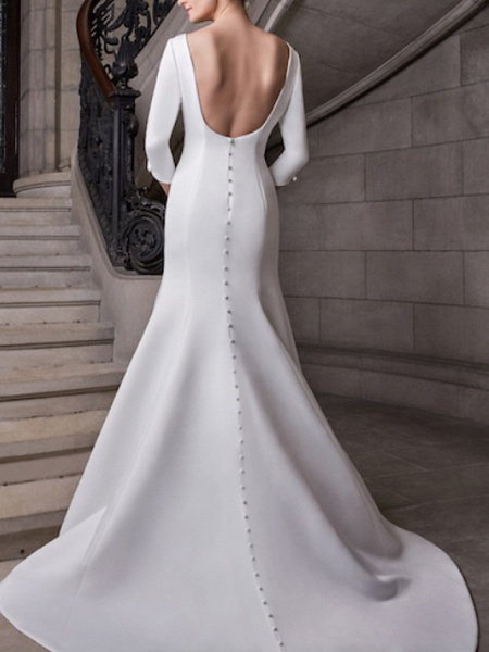 Mermaid \ Trumpet Wedding Dresses Bateau Neck Court Train Satin 3\4 Length Sleeve Plus Size Elegant_2