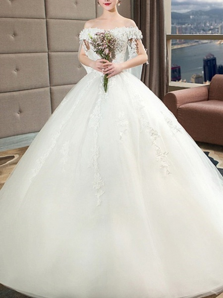 A-Line Wedding Dresses Off Shoulder Court Train Lace Tulle Sleeveless Casual Plus Size Red_3