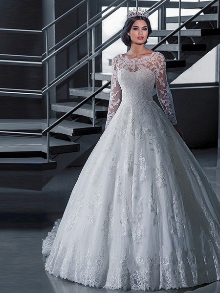 A-Line Wedding Dresses Off Shoulder Court Train Lace Tulle Long Sleeve Formal Sexy Illusion Sleeve_1