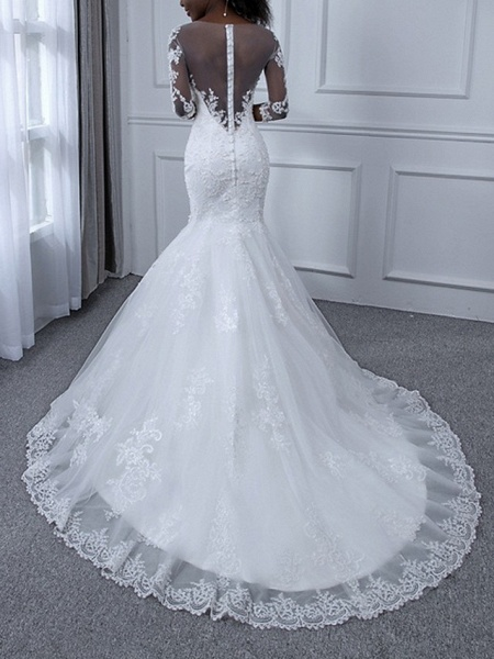 Mermaid \ Trumpet Wedding Dresses Jewel Neck Sweep \ Brush Train Tulle Long Sleeve Casual Plus Size Illusion Sleeve_2