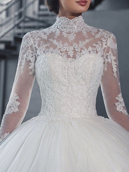 Ball Gown Wedding Dresses High Neck Court Train Tulle Long Sleeve Glamorous Vintage See-Through Backless Illusion Sleeve_3