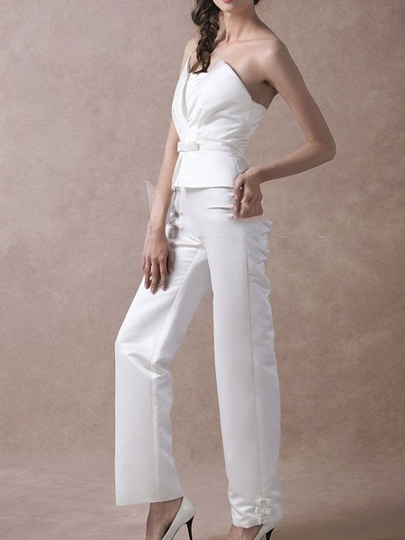 Jumpsuits Wedding Dresses V Neck Floor Length Satin Sleeveless Simple Modern_5
