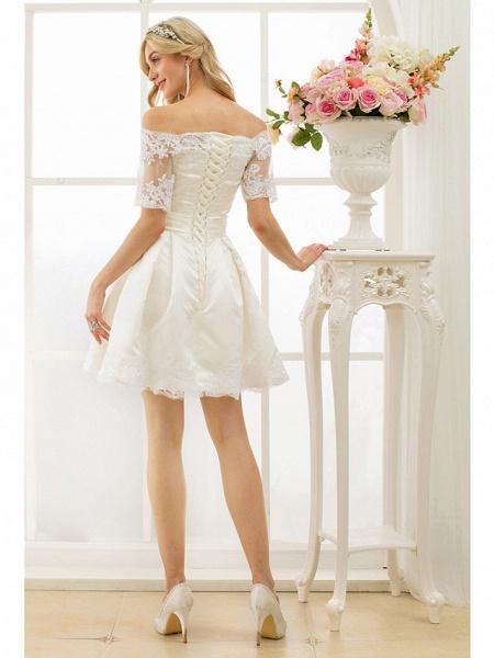 A-Line Wedding Dresses Off Shoulder Short \ Mini Satin Half Sleeve Formal Casual Illusion Detail_2