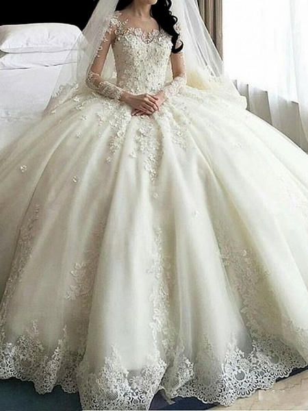 A-Line Wedding Dresses Scoop Neck Court Train Organza Long Sleeve Sexy Wedding Dress in Color_1