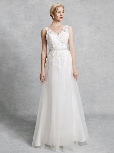 A-Line Wedding Dresses V Neck Court Train Lace Satin Tulle Regular Straps Romantic Illusion Detail Backless_4