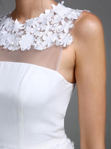 Sheath \ Column Wedding Dresses Jewel Neck Short \ Mini Chiffon Regular Straps Romantic Casual See-Through Plus Size Backless_9