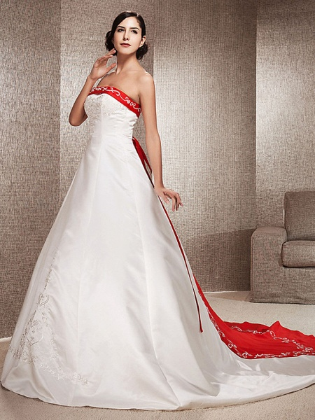 Ball Gown Wedding Dresses Strapless Sweep \ Brush Train Satin Strapless Glamorous Plus Size Red_4