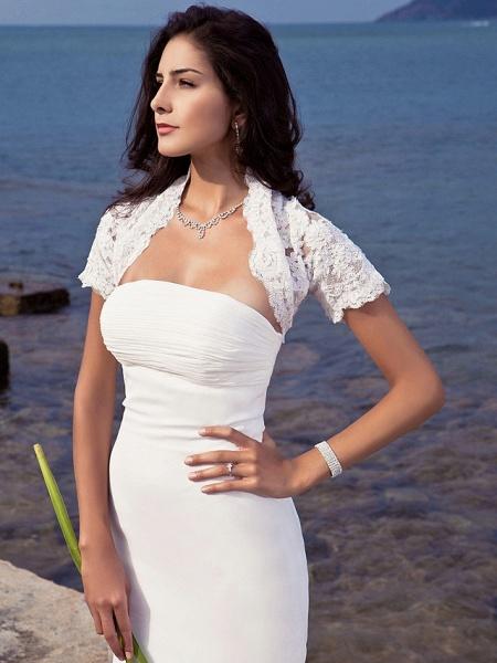 Mermaid \ Trumpet Wedding Dresses Strapless Sweep \ Brush Train Chiffon Short Sleeve Vintage Separate Bodies_5