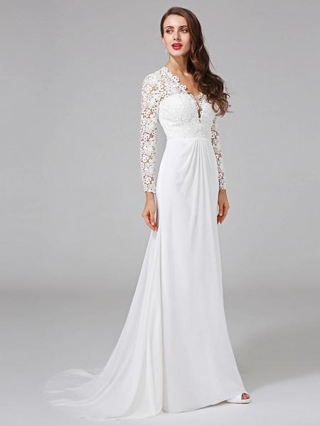 Sheath \ Column Wedding Dresses V Neck Sweep \ Brush Train Chiffon Floral Lace Long Sleeve Romantic Boho Illusion Sleeve_4