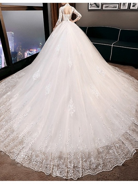 A-Line Wedding Dresses High Neck Court Train Lace 3\4 Length Sleeve Glamorous Illusion Sleeve_2