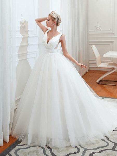 A-Line Wedding Dresses V Neck Court Train Tulle Spaghetti Strap Formal Romantic Casual_3