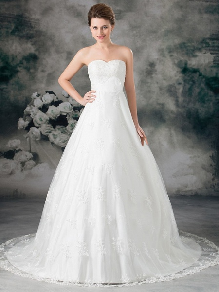A-Line Sweetheart Neckline Court Train Lace Satin Strapless Wedding Dresses_1