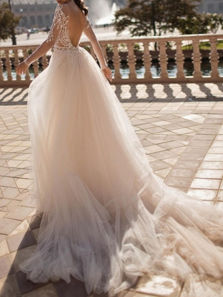 Two Piece A-Line Wedding Dresses Plunging Neck Sweep \ Brush Train Lace Tulle Sleeveless Beach Sexy See-Through Backless_2