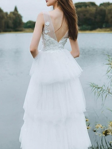 A-Line Wedding Dresses V Neck Floor Length Lace Tulle Sleeveless Country_2