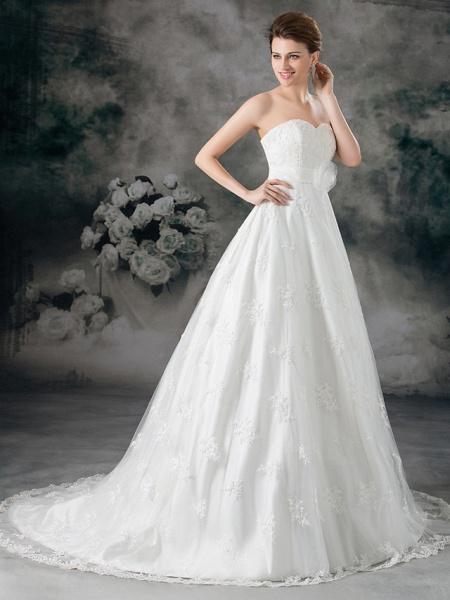 A-Line Sweetheart Neckline Court Train Lace Satin Strapless Wedding Dresses_2