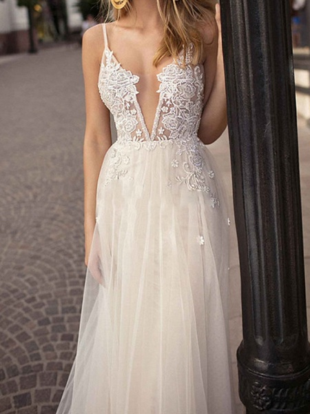A-Line Wedding Dresses V Neck Court Train Chiffon Tulle Sleeveless Beach Sexy See-Through_3
