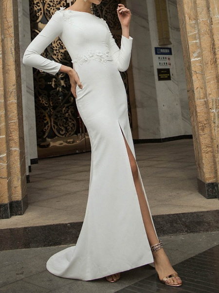 Mermaid \ Trumpet Wedding Dresses Off Shoulder Short \ Mini Polyester Long Sleeve Country Plus Size_1