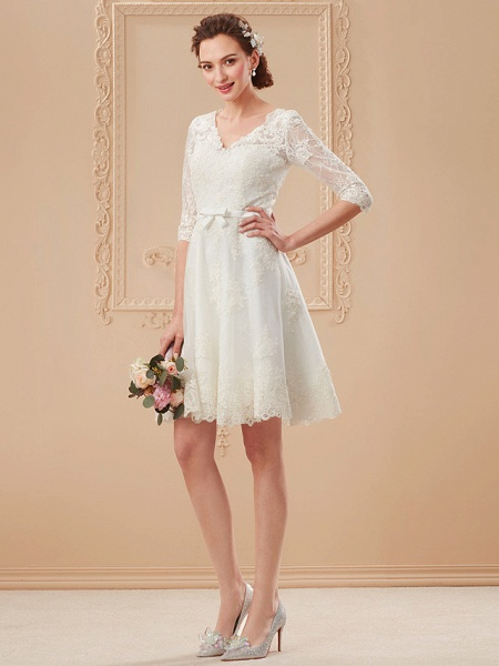 A-Line Wedding Dresses V Neck Knee Length All Over Lace 3\4 Length Sleeve Formal Casual Vintage Cute Illusion Sleeve_12