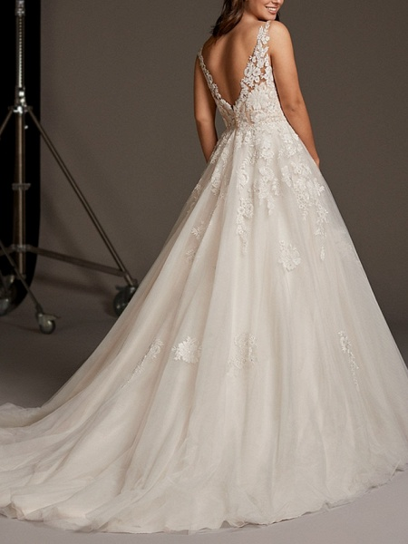 A-Line V Neck Sweep \ Brush Train Lace Tulle Regular Straps See-Through Illusion Detail Backless Wedding Dresses_2