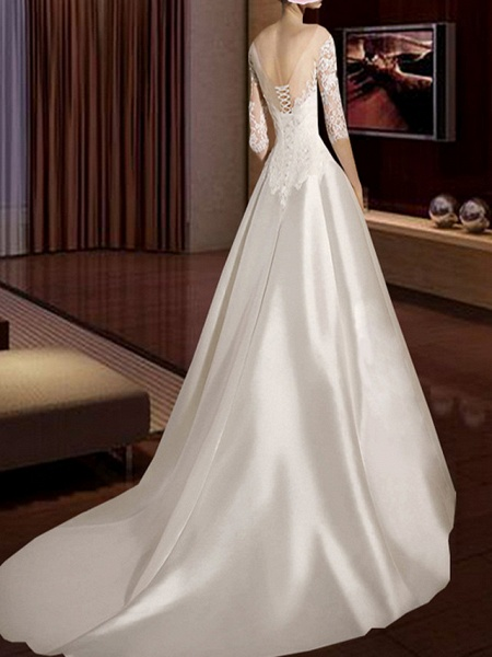 A-Line Wedding Dresses V Neck Court Train Lace Tulle Half Sleeve Formal Vintage Plus Size Illusion Sleeve_2
