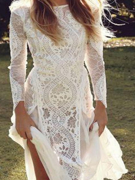 A-Line Wedding Dresses Jewel Neck Sweep \ Brush Train Chiffon Lace Long Sleeve Beach Boho Sexy_4