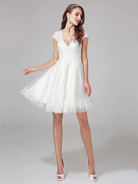 A-Line Wedding Dresses V Neck Knee Length Lace Over Tulle Cap Sleeve Formal Casual Illusion Detail Backless_1