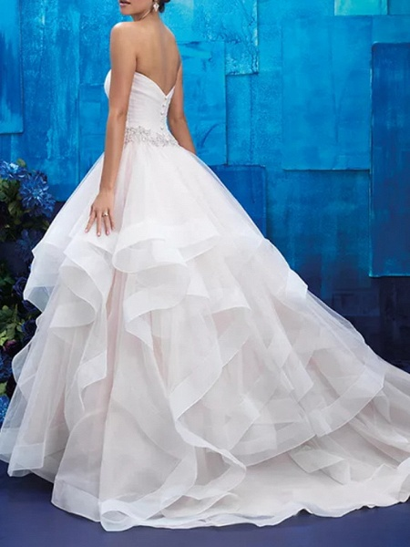 Ball Gown Strapless Sweep \ Brush Train Tulle Polyester Sleeveless Country Plus Size Wedding Dresses_3