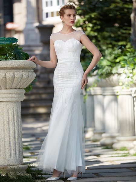 Mermaid \ Trumpet Wedding Dresses Illusion Neck Floor Length Tulle Sleeveless Sparkle & Shine_4