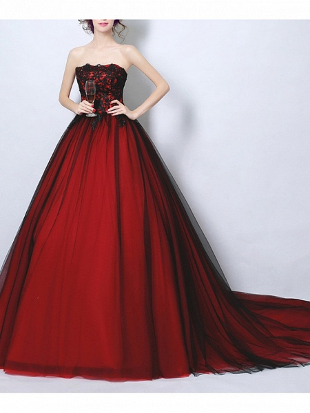 Ball Gown Wedding Dresses Strapless Court Train Tulle Strapless Romantic Plus Size Red_1